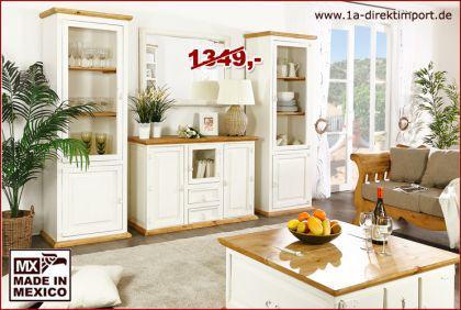set aus 2x vitrine schrank vitrinenschrank mexico weiss. Black Bedroom Furniture Sets. Home Design Ideas