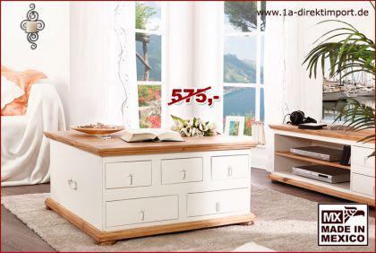 Truhentisch Couchtisch Wohnzimmertisch Truhe MEXICO, Pinie weiß, Shabby Möbel - Vorschau 1