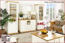 Sideboard Schrank Kommode MEXICO WEISS + HONIG, weiße Pinie massiv Möbel, neu