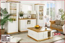 MEXICO Couchtisch Truhentisch Wohnzimmertisch, weiß + honigfarbig, Shabby Möbel