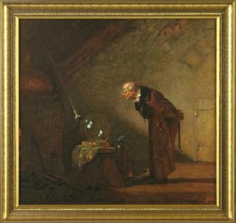 Spitzweg - Der Alchimist: Leinwand Reproduktion