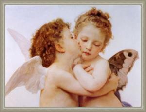 Bouguereau - The first kiss: Leinwand Repro Engel