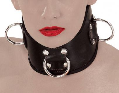 Ledapol - Breites Echt Leder Halsband / Collar mit D-Ringen schwarz - Gr. S-L