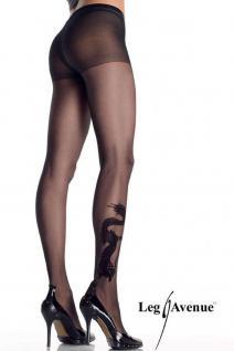 Leg Avenue - Strumpfhose mit Strass Drachen Tattoo schwarz - Gr. S-L