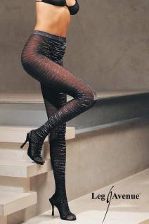 Leg Avenue - Edel Lurex Glanz Strumpfhose schwarz-silber - Gr. S-L