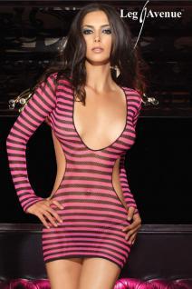 Leg Avenue - Sexy Netz Mini-Kleid & String schwarz-pink - Gr. S-L