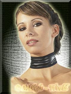 Domina Wetlook Halsband Manschette schwarz - Gr. S-L