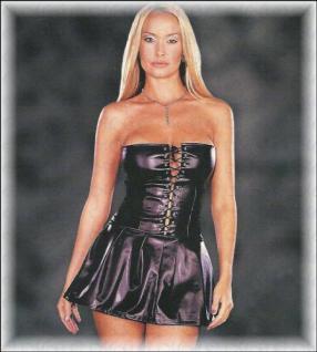 Leder-Look Mini-Kleid trägerlos in Korsett Form schwarz - Gr. S-L