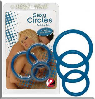 Sexy Circles Cockring-Set blau