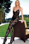 Leg Avenue - Luxus Catsuit ouvert mit Kettchen schwarz - Gr. S-L