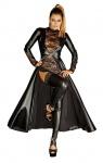 Noir Handmade - Eleganter Power Wetlook Mantel mit Spitze schwarz