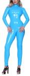 Insistline - Extravaganter Datex Langarm Stehkragen Overall mit Zip blau