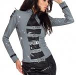 Insistline - Langärmelige Damen Jacke / Bluse im Military-Look grau-schwarz