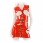 Anita Berg - Latex Zip-Minikleid ouvert mit Zierkette