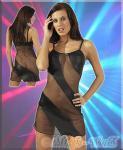 Gewagtes Wetlook Mini-Kleid schwarz-transparent