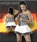Kurzes Lack Schnür Mini-Korsett-Kleid weiß-schwarz