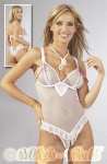Luxus String Body voll ouvert weiß-pink
