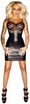 Noir Handmade - Lack Wetlook Minikleid mit transparentem Tüll schwarz