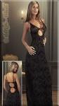 Bodenlanges Samtflock Abendkleid / Kleid schwarz