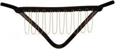 Noir Handmade - Knapper Wetlook String ouvert mit Goldkette schwarz