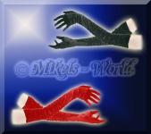 Elegante Satin Raff-Handschuhe in Rot & Schwarz