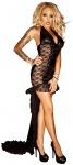 Noir Handmade - Neckholder Wetlook Spitzen-Kleid mit Schleppe schwarz