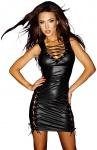Noir Handmade - Wetlook Minikleid mit scharfen Schnürungen schwarz