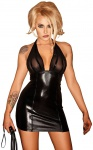 Noir Handmade - Neckholder Wetlook Party Minikleid mit Tüll schwarz