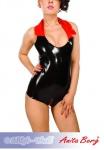 Anita Berg - Extravaganter Latex Body mit Kragen und Zip schwarz-rot
