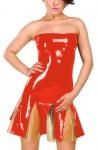 Anita Berg - Zweifarbiges Latex Volant Minikleid mit Zip