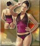 Elegantes Satin Top & String bordeaux
