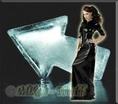 Bodenlanges Latex Kleid mit Zip schwarz