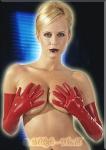 Hautenge Latex Rubber Handschuhe lang rot