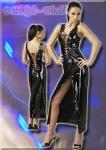 Glänzendes Lack Schnür Zip-Kleid schwarz
