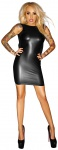 Noir Handmade - Rückenfreies Wetlook Minikleid mit Chiffon schwarz