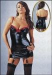 Lack Straps Mini-Kleid schwarz-rot