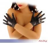 Anita Berg - Kurze Latex Handschuhe mit Spitzen-Einsatz