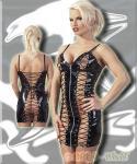 Frivoles Schnür Lack-Mini-Kleid schwarz