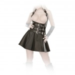 Ledapol - Echt Leder Schnallen Minikleid mit Zip ouvert schwarz