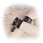 Ledapol - Breite Echt Leder Armfesseln mit Patronen-Nieten