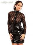 Langärmeliges Minikleid mit zarter Spitze und glänzendem Lack schwarz