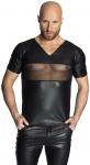 Noir Handmade - Rassiges Wetlook Shirt mit Tülleinsatz schwarz
