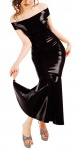 Anita Berg - Elegantes langes Latex Carmen Kleid mit Zip