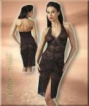 Effekt Spitze Strass Neglige Kleid schwarz