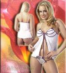 Glitzer Babydoll & String weiß-lila-silber