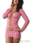 LivCo Heißes Langarm Lochmuster Minikleid CANTARA mit Schnürung rosa