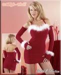 Weihnachten Samt Minikleid mit Armstulpen rot-weiß