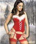 Weihnachten Samt Straps-Corsage & String rot-weiß