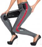 Insistline - Lange Damen Datex Stiefel-Hose im Military-Look grau-schwarz