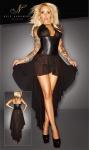 Noir Handmade - Transparentes Tüll-Kleid mit Wetlook-Einsatz schwarz